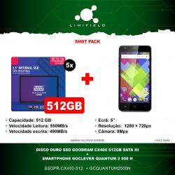 Disco Duro Ssd Goodram CX400 512GB Sata III + Smartphone GoClever QUANTUM 2 500 N - Shot Pack 12 - LIMIFIELD