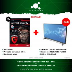 "G Data Internet Security 1PC 12M Box + TV Led Microvision 40"" FHD, Smart TV - Shot Pack 14 - LIMIFIELD"