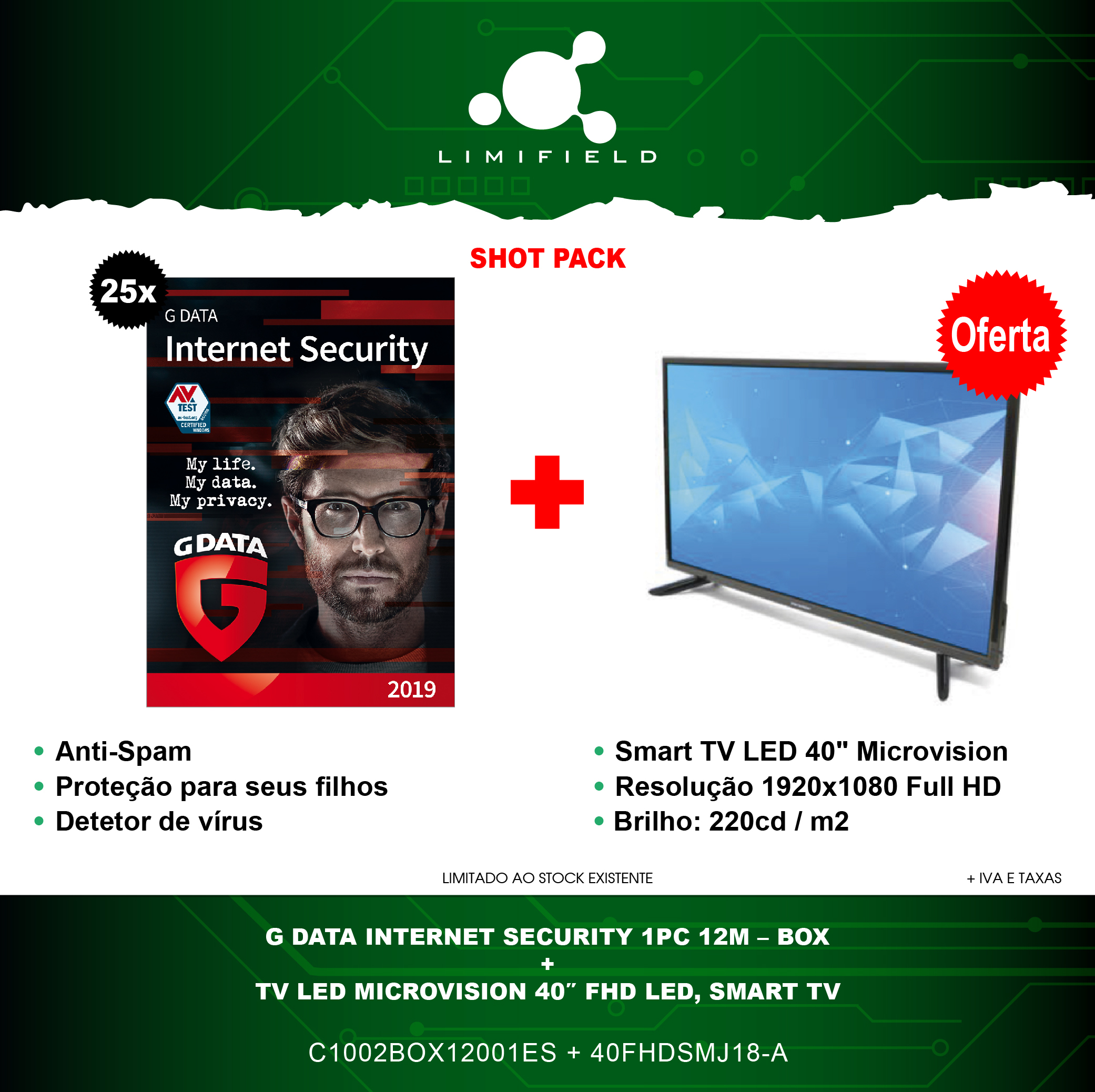 G Data Internet Security 1PC 12M+ TV Led Microvision 40