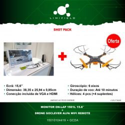 Monitor On-Lap 1501L 15.6″ + Drone Goclever Alfa Wifi Remote - Shot Pack 13 - LIMIFIELD