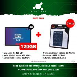 Disco Duro Ssd Goodram CL100 Gen.2- 120GB – SATAII 3x + OFERTA Ultrabay 2HIX HDD Sata para Sata 9.5mm - Shot pack 17 - Limifield