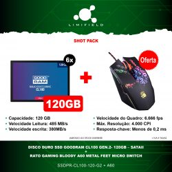 Disco Duro Ssd Goodram CL100 Gen.2- 120GB – SATAII 6x + OFERTA Rato Gaming Bloody A60 Metal Feet Micro Switch - Shot pack 18 - Limifield