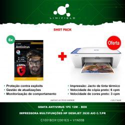GData Antivirus 1PC 12M – Box 6x + OFERTA Impressora Multifunções HP Deskjet 2630 AIO C.T.Pr - Shot Pack- LIMIFIELD