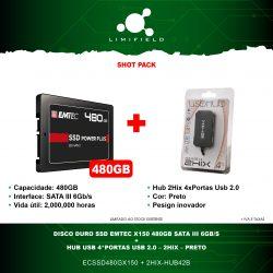 Disco Duro SSD EMTEC X150 480GB Sata II 6GB-S + HUB USB 4Portas USB 2.0 2HIX - Shot Pack-Limifield