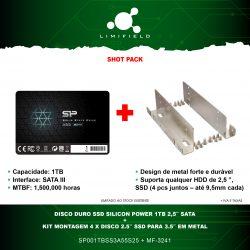 Disco Duro SSD Silicon Power 1Tb 2,5 Sata + Kit Montagem 4x Disco 2.5 SSD para 3.5 em Metal - Shot Pack-LImifield