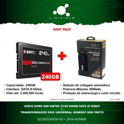 Disco Duro Ssd EMTEC X150 240GB Sata III 6Gb-s + Transformador 2HIX Universal UniBody 90W Preto - Shot Pack-Limifield