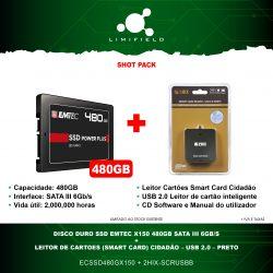 Disco Duro Ssd EMTEC X150 480GB Sata III 6Gb-s + Leitor de Cartões (Smart Card) Cidadão USB 2.0 Preto - Shot Pack-Limifield