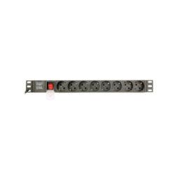 Regua Tomadas de Alimentação PDU 8*Schucko 1U 16A C14 3 metros